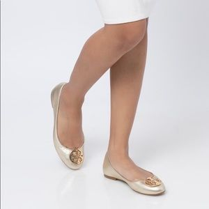 Tory Burch Claire Metallic Tumbled Leather Flats